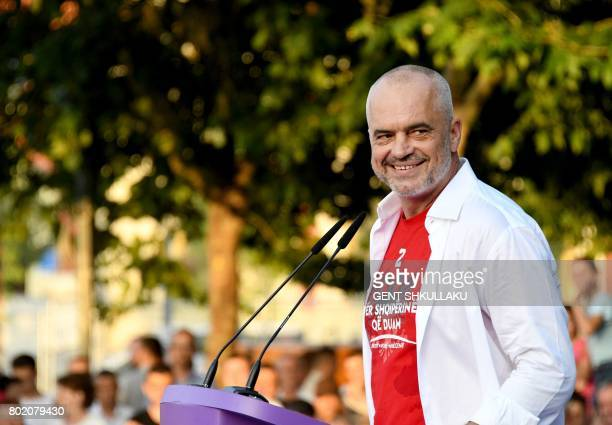 Albania's Prime Minister Edi Rama speaks during a victory rally on June 27 2017 in Tirana following June 25 general elections resulting in an...