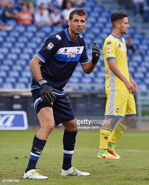 Albano Bizzarri of Pescara Calcio in action during the Serie A match between SS Lazio and Pescara Calcio at Stadio Olimpico on September 17 2016 in...