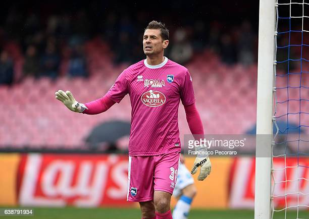 Albano Bizzarri of Pescara calcio in action during the Serie A match between SSC Napoli and Pescara Calcio at Stadio San Paolo on January 15 2017 in...