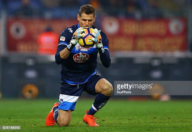 Albano Bizzarri of Pescara kissing the ball after a goal saved during the Serie A match between AS Roma and Pescara Calcio at Stadio Olimpico on...