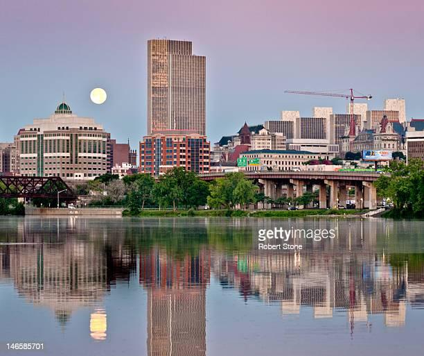Albany moonset at sunrise