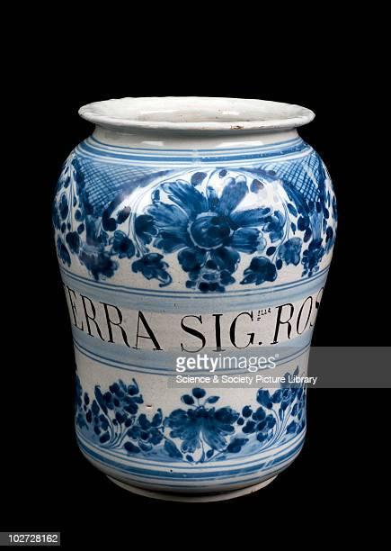 Albarello vase for terra sigillata Portugal 18th Century Albarello blue and white maiolica used for terra sigillata rossa Portugal 17011800