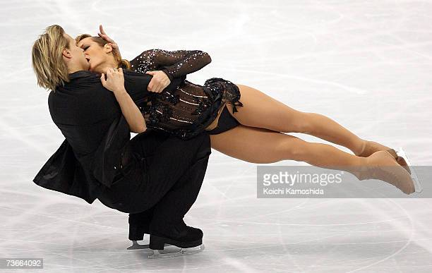 Albena Denkova and Maxim Staviski from Bulgaria compete in the original dance portion of the ice dancing competition during the World Figure Skating...