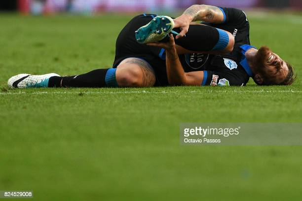 Albentosa of RC Deportivo La Coruna hurt on the lawn during the PreSeason Friendly match between FC Porto and RC Deportivo La Coruna at Estadio do...