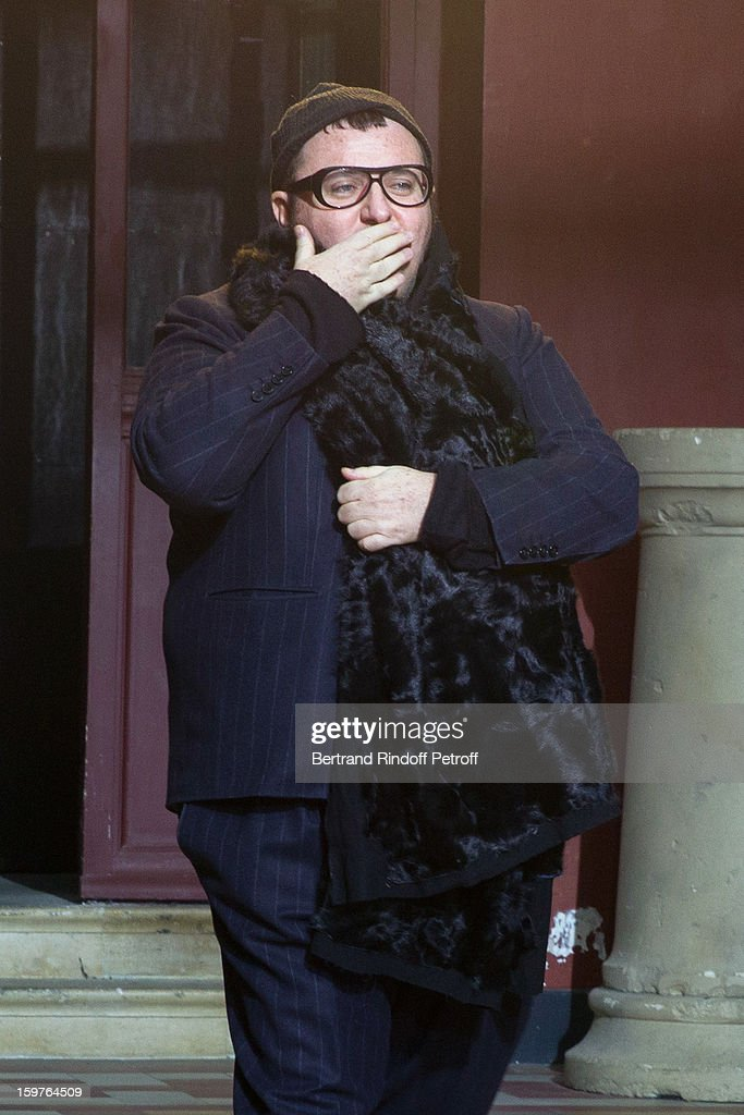 <a gi-track='captionPersonalityLinkClicked' href=/galleries/search?phrase=Alber+Elbaz&family=editorial&specificpeople=783481 ng-click='$event.stopPropagation()'>Alber Elbaz</a> acknowledges applause following the Lanvin Men Autumn / Winter 2013 show at Ecole Nationale Superieure Des Beaux-Arts as part of Paris Fashion Week on January 20, 2013 in Paris, France.