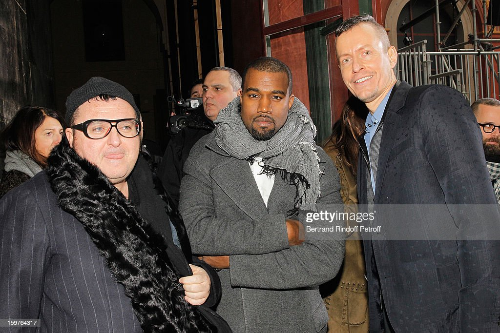 Alber Elbaz, Kanye West and Lucas Ossendrijver pose following the Lanvin Men Autumn / Winter 2013 show at Ecole Nationale Superieure Des Beaux-Arts as part of Paris Fashion Week on January 20, 2013 in Paris, France.