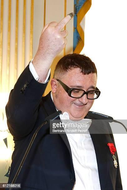 Alber Elbaz receives the Insigna of 'Officier de la Legion d'Honneur' at Ministere de la culture as part of the Paris Fashion Week Womenswear...