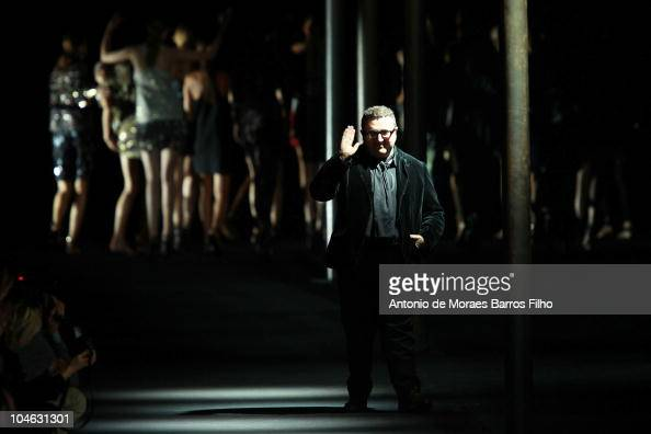 Alber Elbaz walks the runway during the Lanvin Ready to Wear Spring/Summer 2011 show during Paris Fashion Week at Halle Freyssinet on October 1 2010...