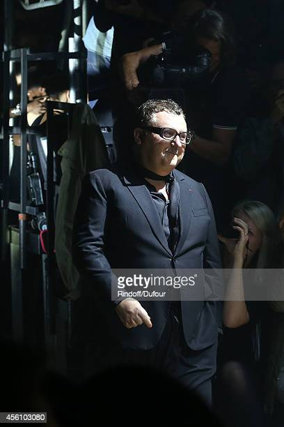 Alber Elbaz walks the runway during the Lanvin show as part of the Paris Fashion Week Womenswear Spring/Summer 2015 on September 25 2014 in Paris...