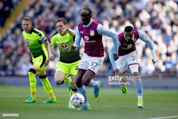 Albert Adomah of Aston Villa during the Sky Bet Championship match between Aston Villa and Reading at Villa Park on April 15 2017 in Birmingham...
