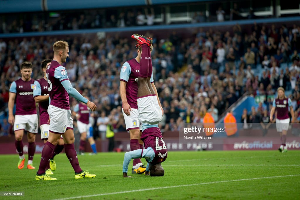 Albert Adomah of Aston Villa scores for Aston Villa during the Carabao Cup Second Round match between Aston Villa and Wigan Athletic at the Villa Park on August 22, 2017 in Birmingham, England.