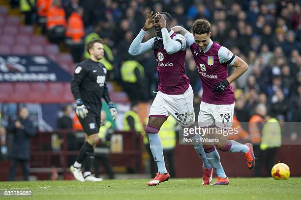 Albert Adomah of Aston Villa scores for Aston Villa during the Sky Bet Championship match between Aston Villa and Preston North End at Villa Park on...