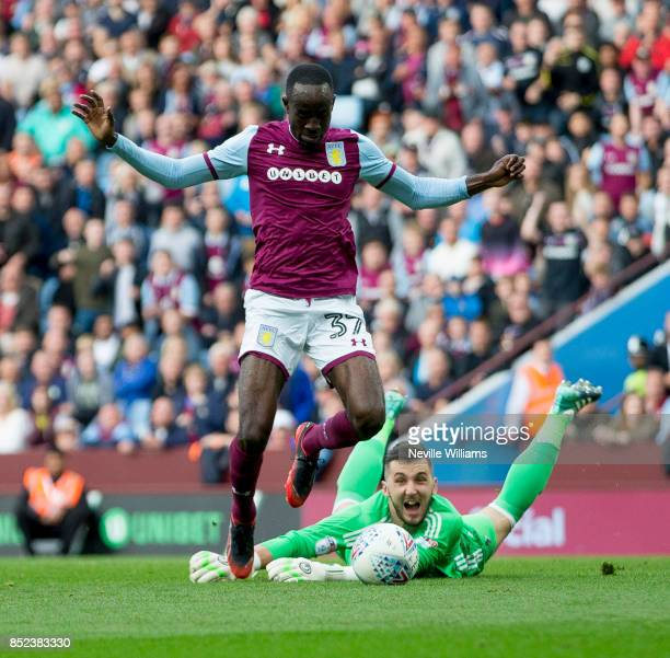 Albert Adomah of Aston Villa scores for Aston Villa during the Sky Bet Championship match between Aston Villa and Nottingham Forest at Villa Park on...