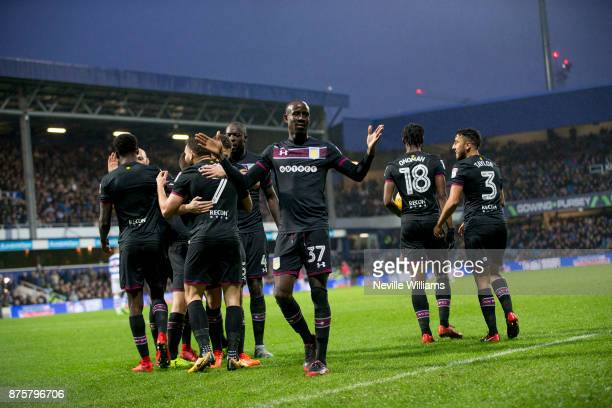 Albert Adomah of Aston Villa scores his second goal for Aston Villa during the Sky Bet Championship match between Queens Park Rangers and Aston Villa...