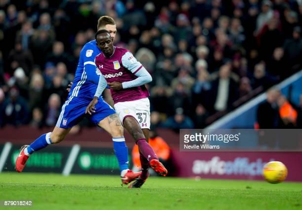 Albert Adomah of Aston Villa scores his second goal for Aston Villa during the Sky Bet Championship match between Aston Villa and Ipswich Town at...