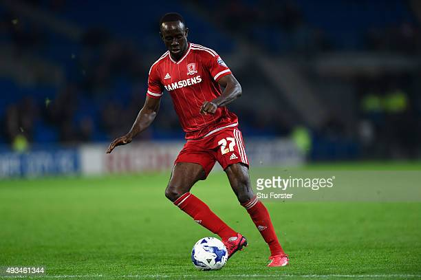 Albert Adomah of Boro in action during the Sky Bet Championship match between Cardiff City and Middlesbrough at Cardiff City Stadium on October 20...