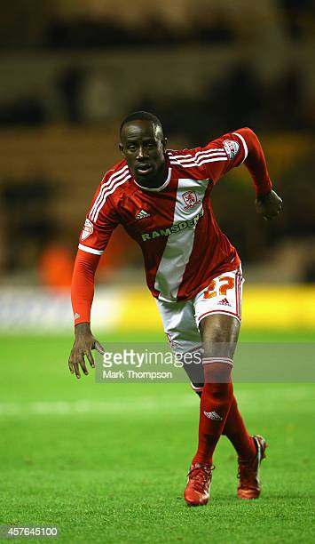 Albert Adomah of Middlesborough in action during the Sky Bet Championship match between Wolverhampton Wanderers and Middlesbrough at Molineux on...