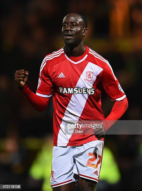 Albert Adomah of Middlesbrough celebrates victory the Sky Bet Championship match between Norwich City and Middlesbrough at Carrow Road on April 17...