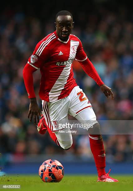 Albert Adomah of Middlesbrough during the FA Cup fourth round match between Manchester City and Middlesbrough at Etihad Stadium on January 24 2015 in...