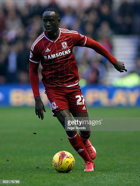 Albert Adomah of Middlesbrough during the Sky Bet Championship soccer match between Middlesbrough and Derby County on January 2 2016 in Middlesbrough...