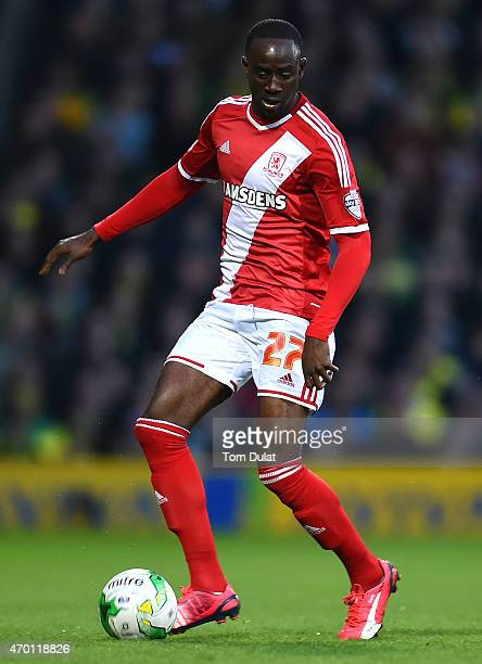 Albert Adomah of Middlesbrough in action during the Sky Bet Championship match between Norwich City and Middlesbrough at Carrow Road on April 17 2015...