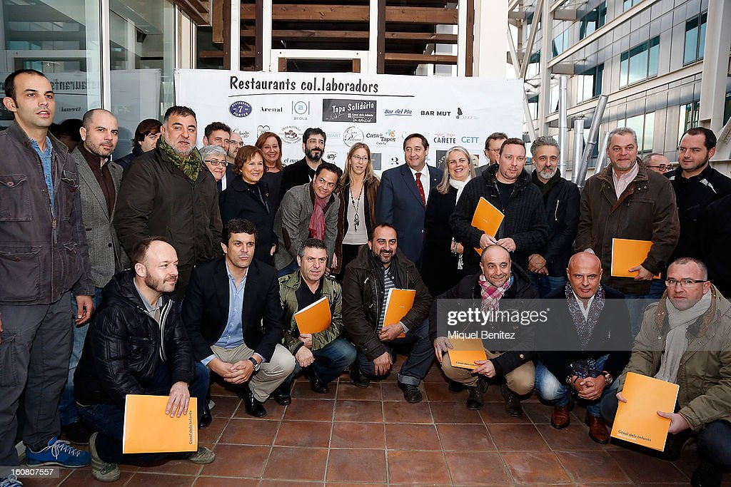 Albert Adria, <a gi-track='captionPersonalityLinkClicked' href=/galleries/search?phrase=Sergi+Arola&family=editorial&specificpeople=550505 ng-click='$event.stopPropagation()'>Sergi Arola</a>, Xavier Pellicer attend the Second Charity Tapas on February 5, 2013 in Barcelona, Spain.