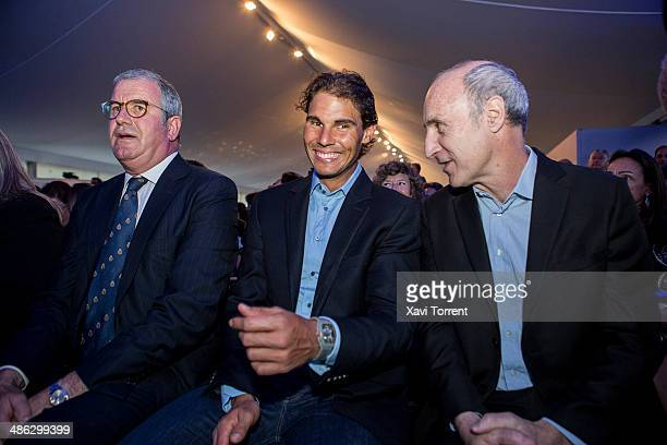 Albert Agusti Rafael Nadal and Paco Mir attend the Sports Cultura Barcelona awards at Real Club de Tenis Barcelona on April 23 2014 in Barcelona Spain