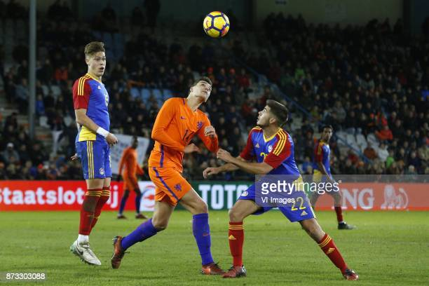 Albert Alavedra of Jong Andorra Justin Hoogma of Jong Oranje Jose Tizon of Jong Andorra during the EURO U21 2017 qualifying match between Netherlands...
