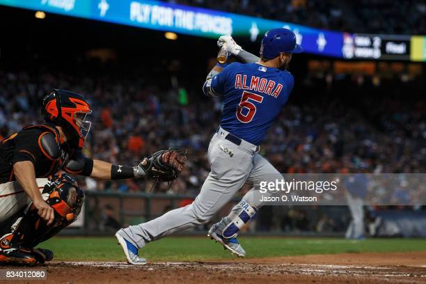 Albert Almora Jr #5 of the Chicago Cubs at bat against the San Francisco Giants during the fourth inning at ATT Park on August 7 2017 in San...
