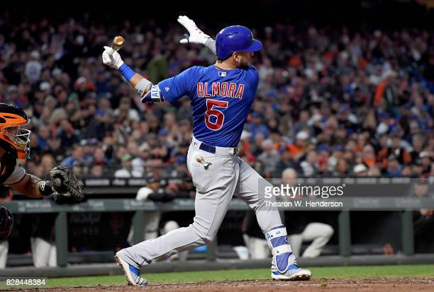 Albert Almora Jr #5 of the Chicago Cubs bats against the San Francisco Giants in the top of the fourth inning at ATT Park on August 8 2017 in San...
