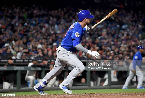 Albert Almora Jr #5 of the Chicago Cubs bats against the San Francisco Giants in the top of the six inning at ATT Park on August 8 2017 in San...