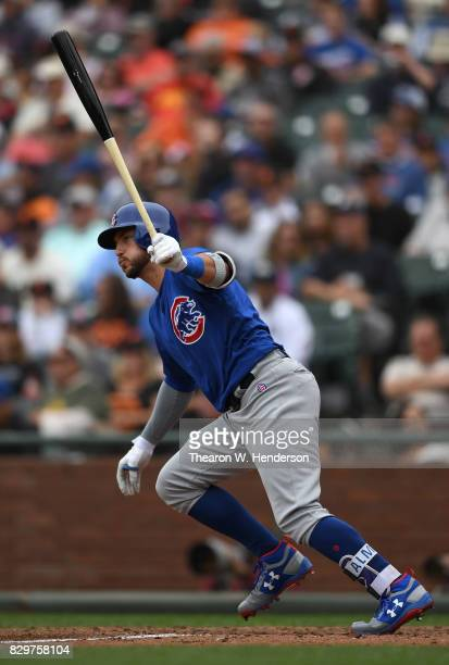 Albert Almora Jr #5 of the Chicago Cubs bats against the San Francisco Giants in the top of the six inning at ATT Park on August 9 2017 in San...