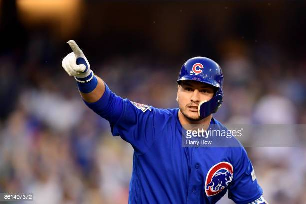 Albert Almora Jr #5 of the Chicago Cubs celebrates after scoring a two run home run against Clayton Kershaw of the Los Angeles Dodgers during the...