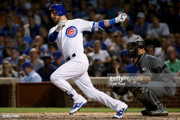 Albert Almora Jr #5 of the Chicago Cubs grounds out in the fourth inning against the Arizona Diamondbacks at Wrigley Field on August 1 2017 in...