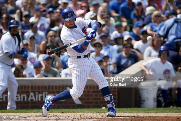 Albert Almora Jr #5 of the Chicago Cubs hits a double in the third inning against the Toronto Blue Jays at Wrigley Field on August 20 2017 in Chicago...