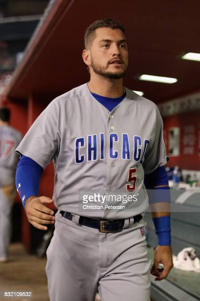 Albert Almora Jr #5 of the Chicago Cubs in the dugout during the MLB game against the Arizona Diamondbacks at Chase Field on August 11 2017 in...