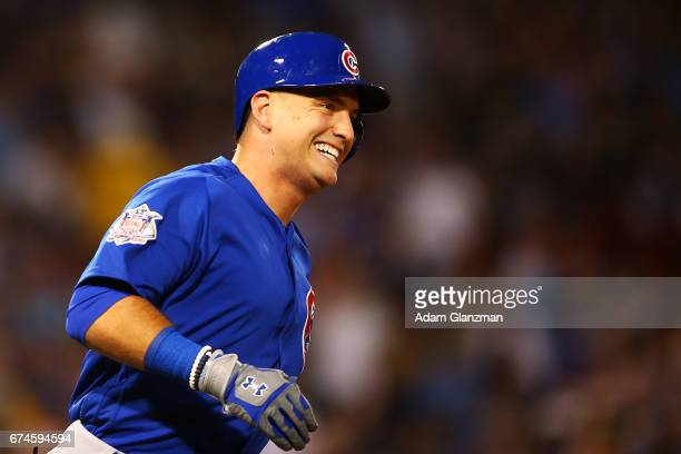 Albert Almora Jr #5 of the Chicago Cubs rounds the bases after hitting a solo home run in the third inning of a game against the Boston Red Sox at...