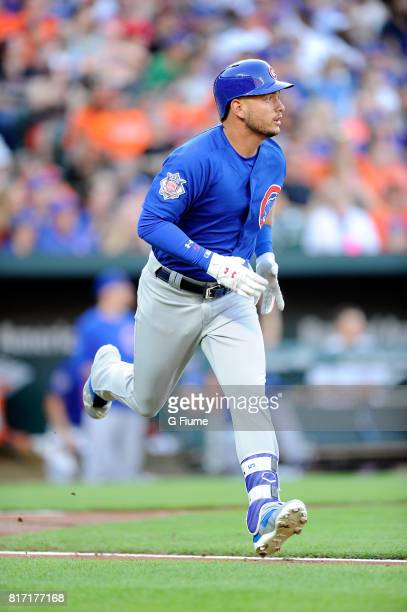 Albert Almora Jr #5 of the Chicago Cubs rounds the bases after hitting a home run in the third inning against the Baltimore Orioles at Oriole Park at...