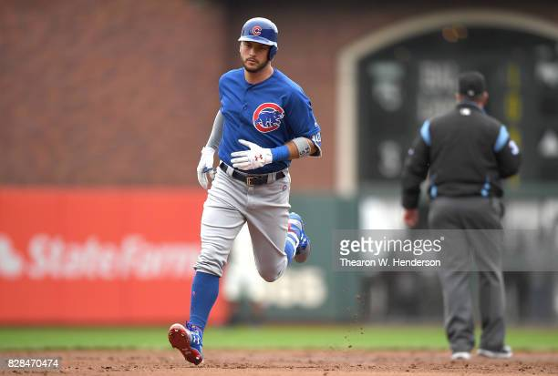 Albert Almora Jr #5 of the Chicago Cubs trots around the bases after hitting a solo home run against the San Francisco Giants in the top of the third...