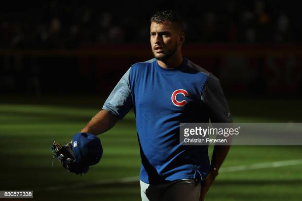 Albert Almora Jr #5 of the Chicago Cubs walks on the filed before the MLB game against the Arizona Diamondbacks at Chase Field on August 11 2017 in...