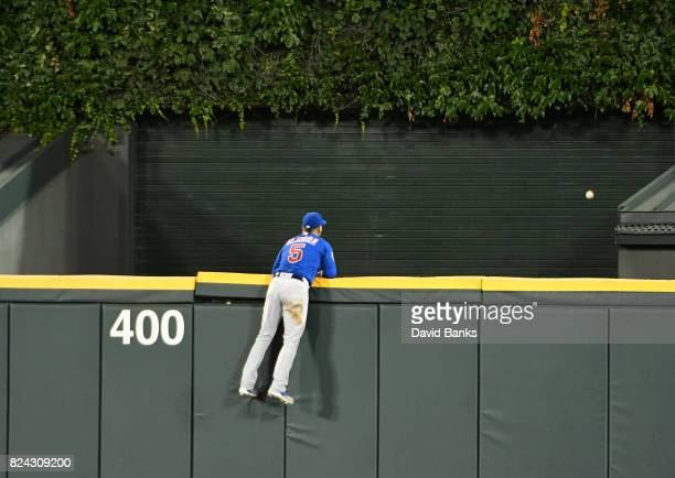 Albert Almora Jr #5 of the Chicago Cubs watches Jose Abreu of the Chicago White Sox home run go over the wall during the ninth inning on July 27 2017...