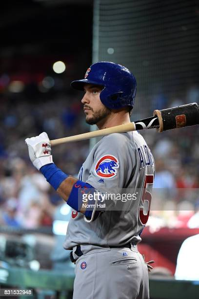 Albert Almora Jr of the Chicago Cubs gets ready in the ondeck circle prior to an atbat against the Arizona Diamondbacks at Chase Field on August 12...