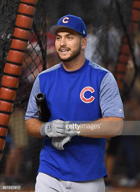Albert Almora Jr of the Chicago Cubs takes batting practice prior to a game against the Arizona Diamondbacks at Chase Field on August 12 2017 in...