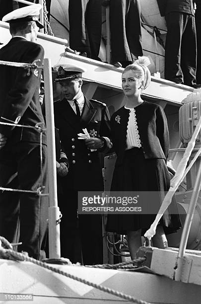 Albert and Paola of Belgium arriving in Monaco on June 14th1966
