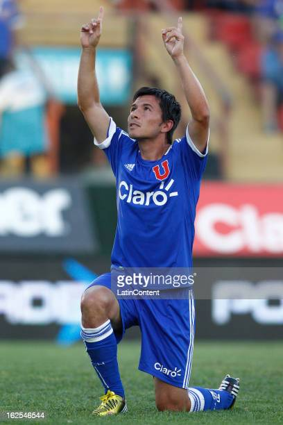 Albert Avecedo of Universidad de Chile celebrates his goal during a match between Universidad de Chile and San Marcos as part of the Torneo...