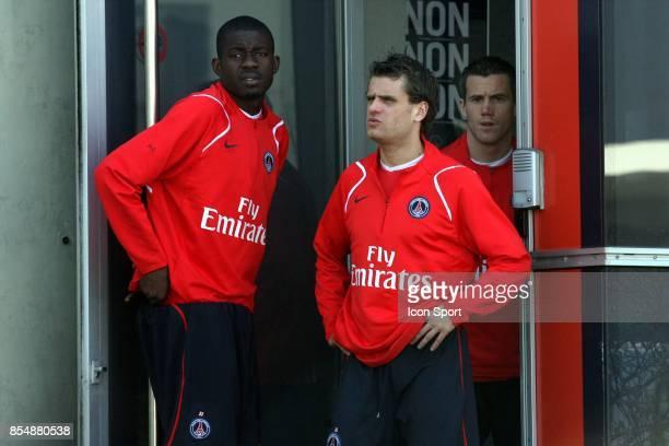 Albert BANING / Jerome ROTHEN / Mickael LANDREAU entrainement et decrassage du PSG Camp des loges St Germain en laye