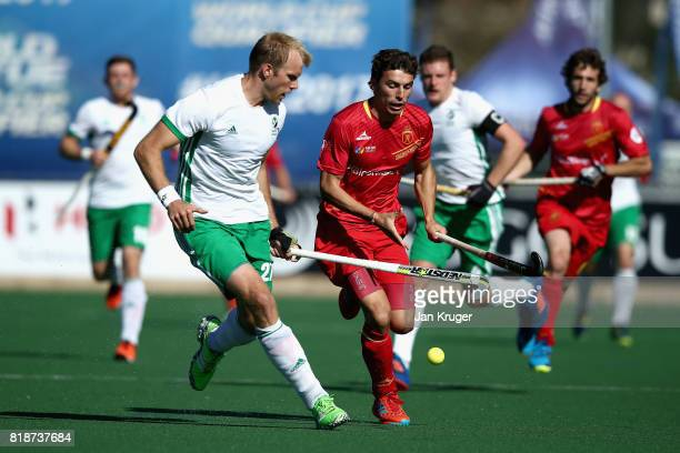 Albert Beltran of Spain and Conor Harte of Ireland battle for possession during the Quarter final match between Spain and Ireland during Day 6 of the...