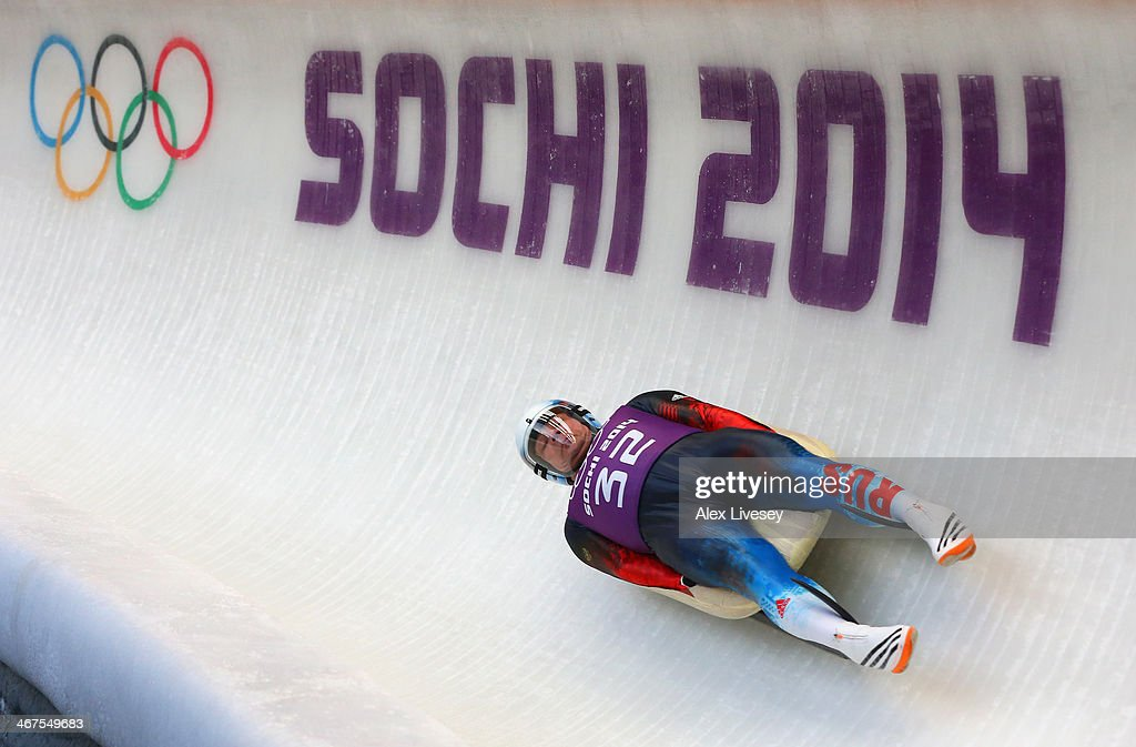 Albert Demchenko of Russia in action during a Men's Singles Luge training session ahead of the Sochi 2014 Winter Olympics at the Sanki Sliding Center on February 6, 2014 in Sochi, Russia.at on February 7, 2014 in Sochi, .