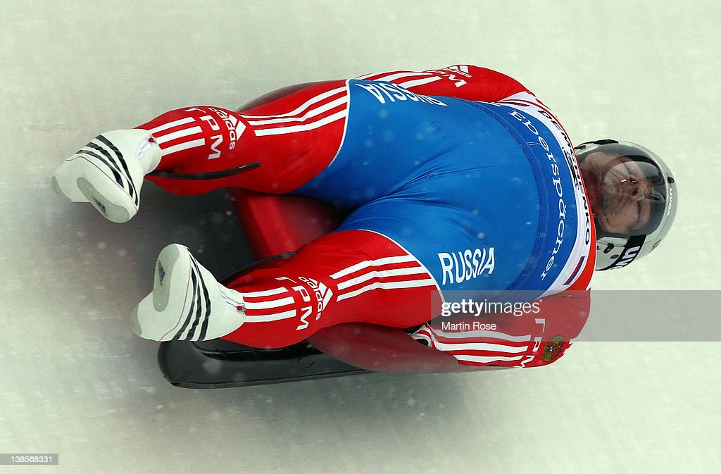Albert Demchenko of Russia in action during the men's single qualification run in the Luge World Championship on February 9, 2012 in Altenberg, Germany.