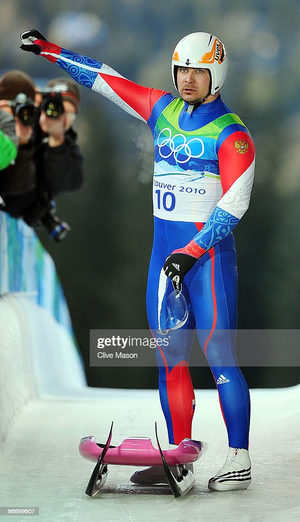 <a gi-track='captionPersonalityLinkClicked' href=/galleries/search?phrase=Albert+Demtschenko&family=editorial&specificpeople=791405 ng-click='$event.stopPropagation()'>Albert Demtschenko</a> of Russia acknowledges the crowd after finishing the final run of the men's luge singles final on day 3 of the 2010 Winter Olympics at Whistler Sliding Centre on February 14, 2010 in Whistler, Canada.
